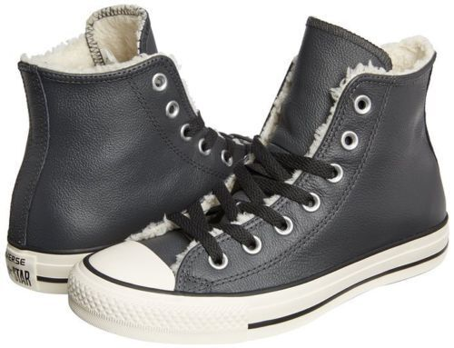 Converse All Star Chuck Taylor Leather Shearling High Tops Gray Mens 6  Womens 8 | eBay