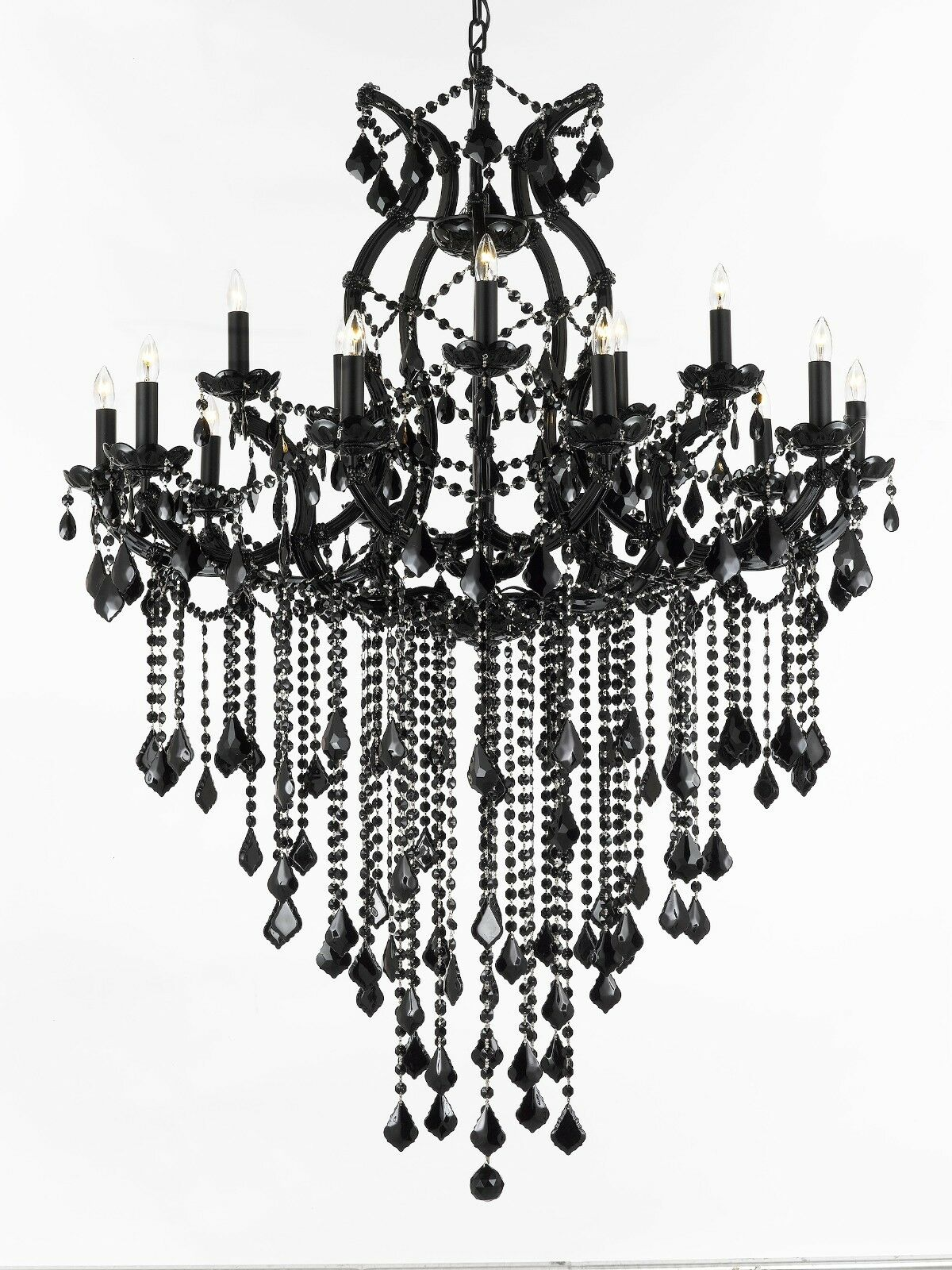 Jet black chandelier crystal lighting chandeliers 37x50 ebay picture 1 of 1 mozeypictures Image collections
