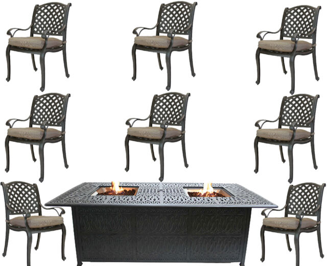 aluminum patio chairs. Propane Fire Pit Dining Table And Chairs Cast Aluminum Patio Furniture 9  Piece