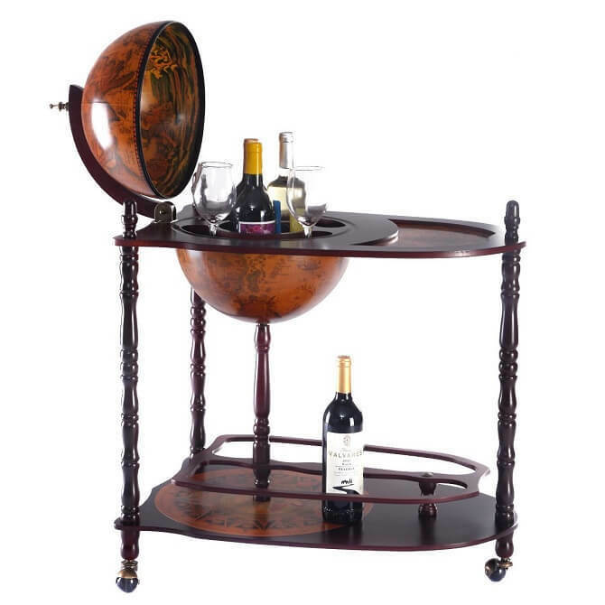 Picture 1 of 3 ... - Antique Mini Bar Wood Globe Trolley Drinks Cabinet Home Office