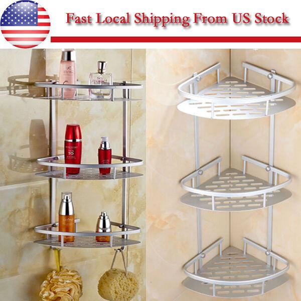 3 Layers Triangular Shower Shelf Bathroom Corner Rack Storage Basket ...