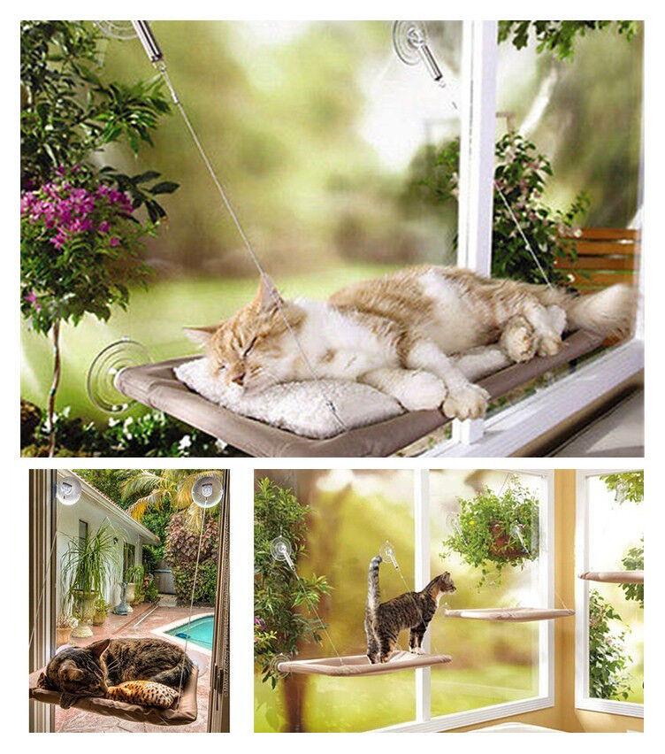picture 1 of 12     cat basking kitty window hammock hanging shelf mounted perch      rh   ebay