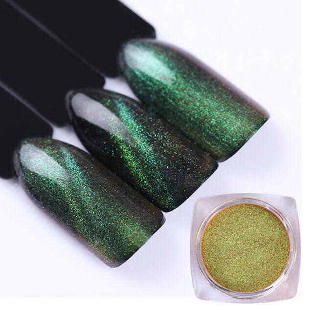 1g Chameleon Cat Eye Magnet Nail Art Powder GEL Glitter Black Base ...