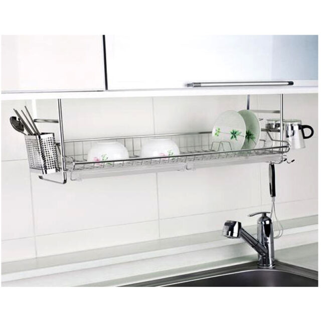 Rolling Stainless Fixing Dish Drying Rack Single Shelf