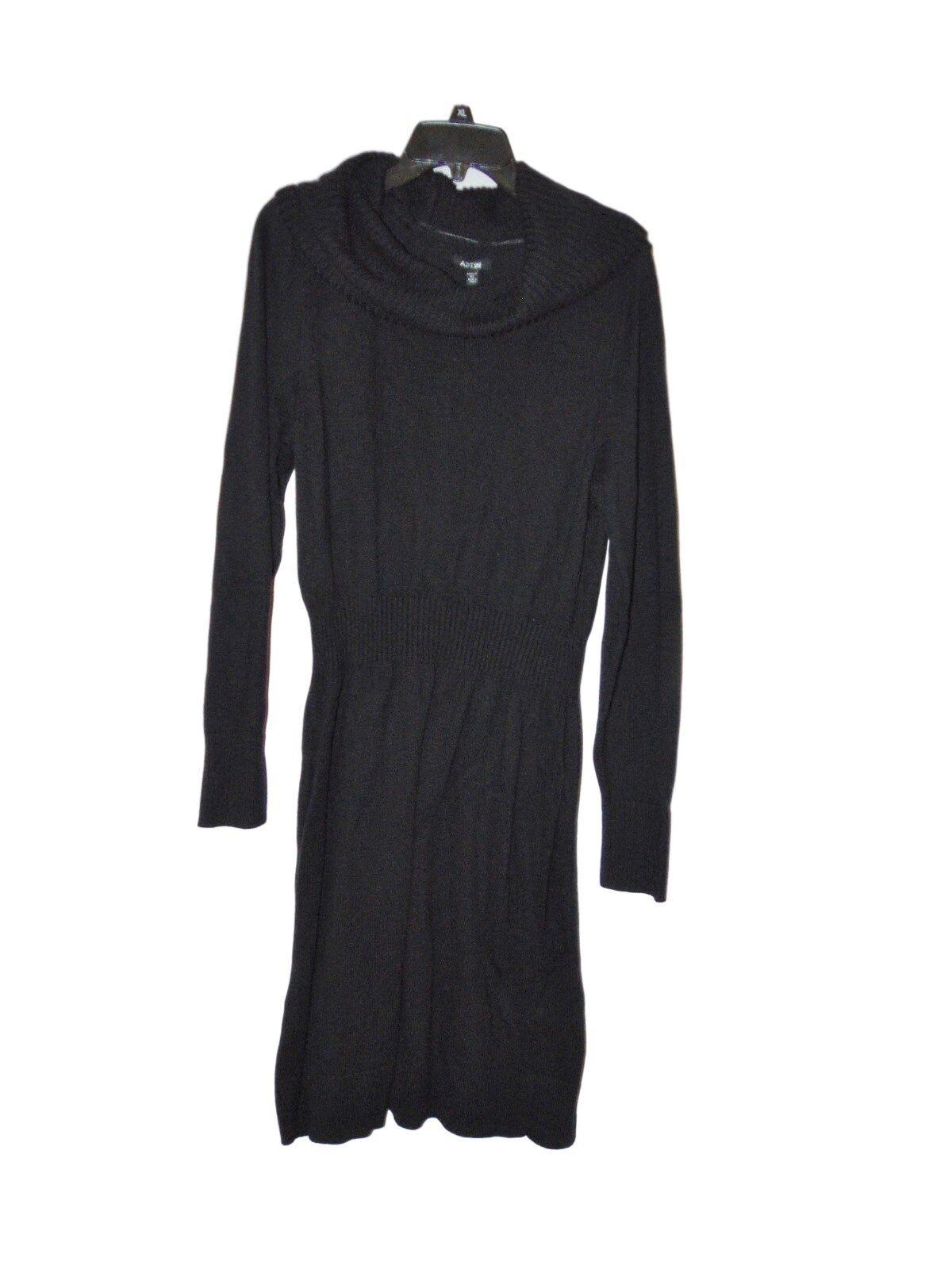 Apt. 9 Rib Waist Cowl Neck Sweater Dress Size 1x Black | eBay