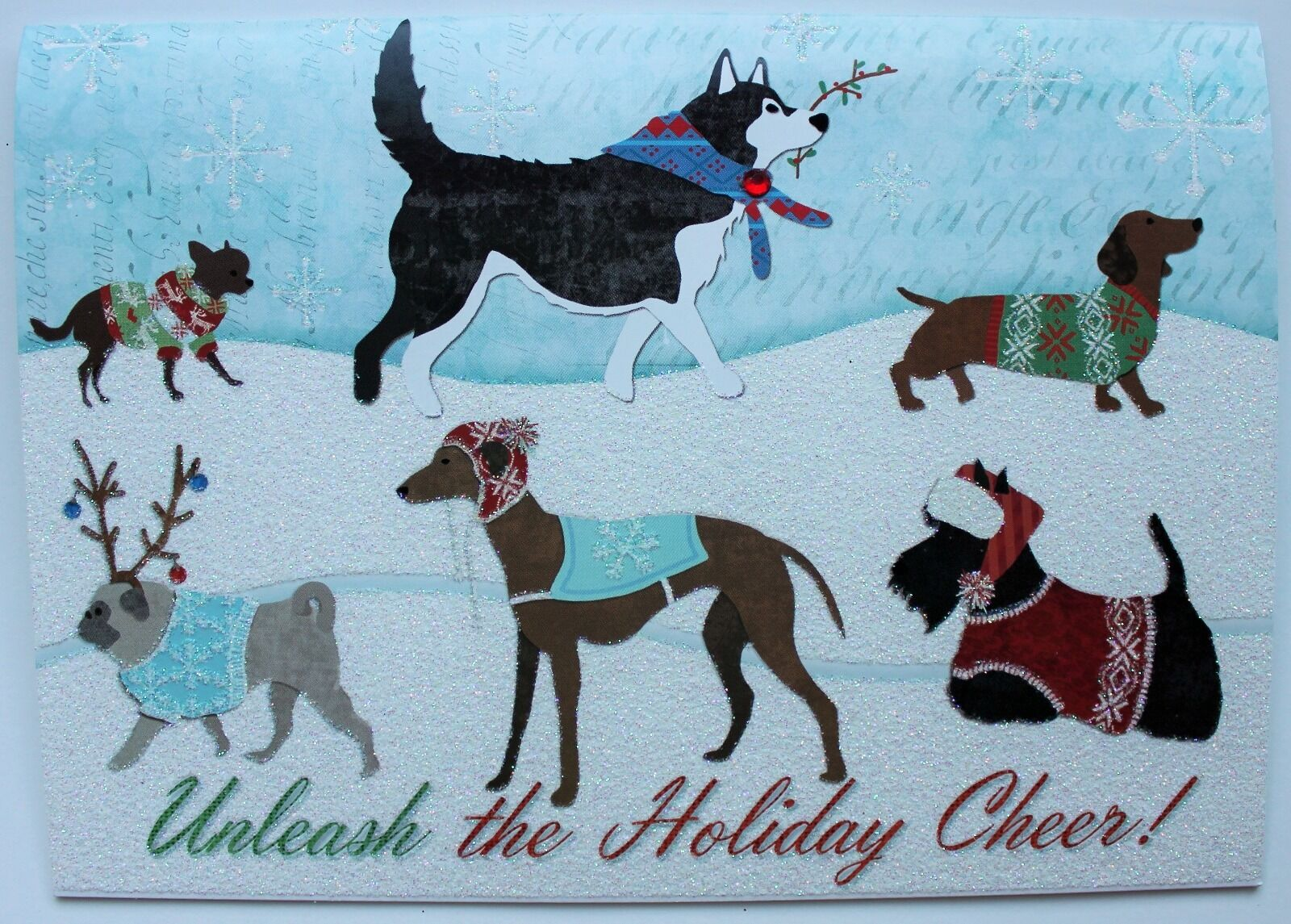 punch Studio Set of 4 Glitter Christmas Cards Unleashed Dogs Terrier ...