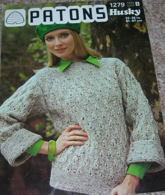 Knitting Pattern Lady\'s Husky Chunky Diagonal Leaf Texture Sweater ...