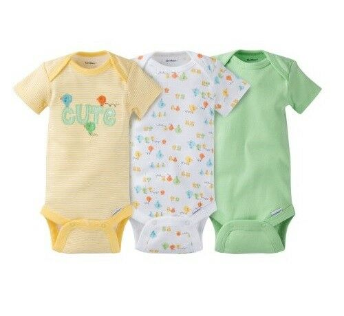 898af88f8a6 Gerber Boy Or Girl Unisex 3-Piece Yellow Green Chicks Onesies Size 0-