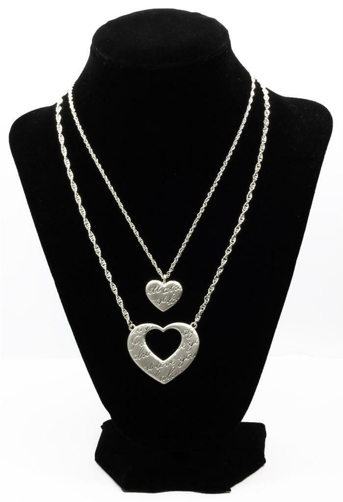 2 necklaces forever hearts mother daughter pendants satin silver picture 1 of 1 aloadofball Gallery