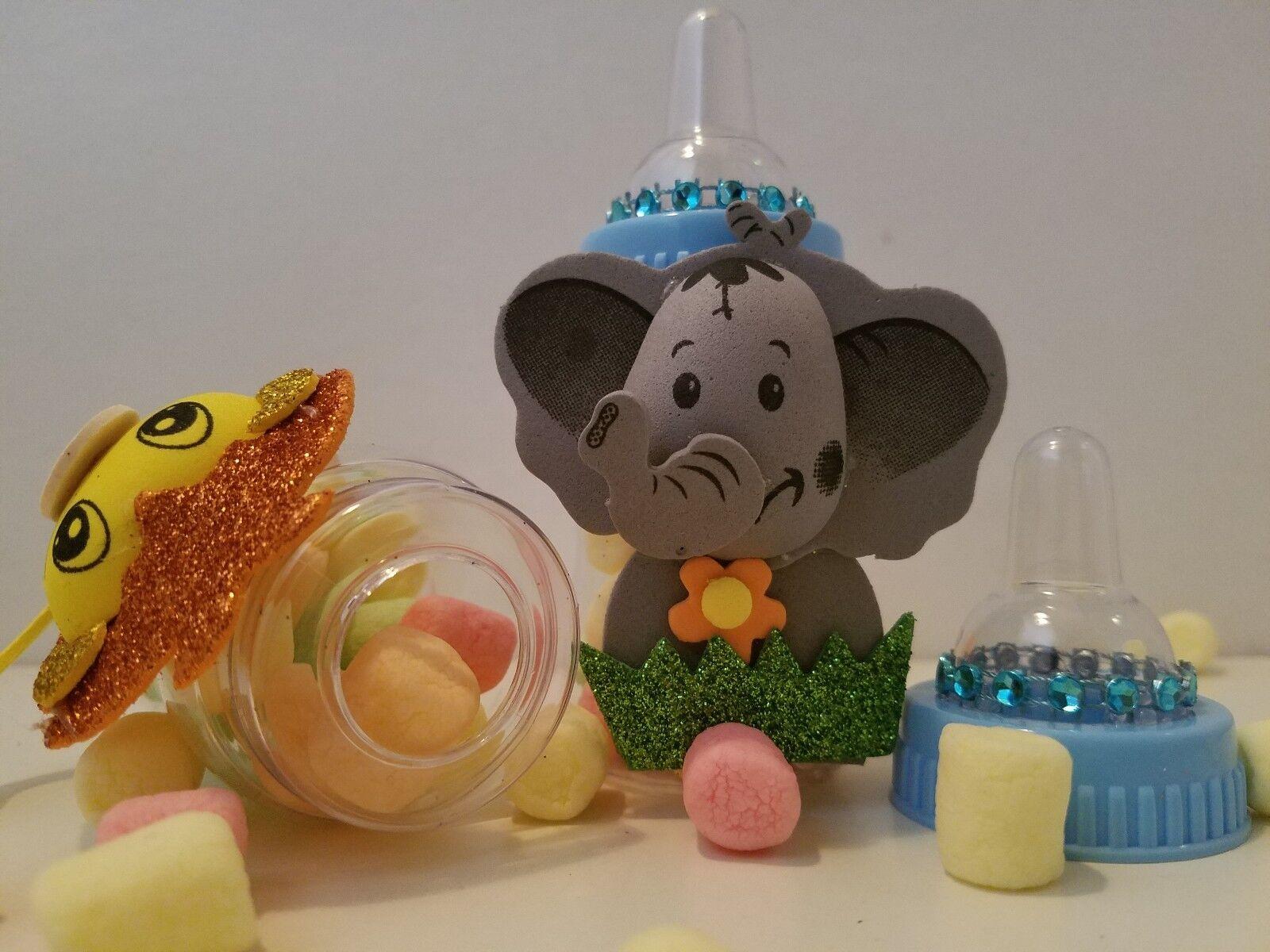 12 Blue Fillable Bottles Baby Shower Favors Prizes Safari Jungle ...