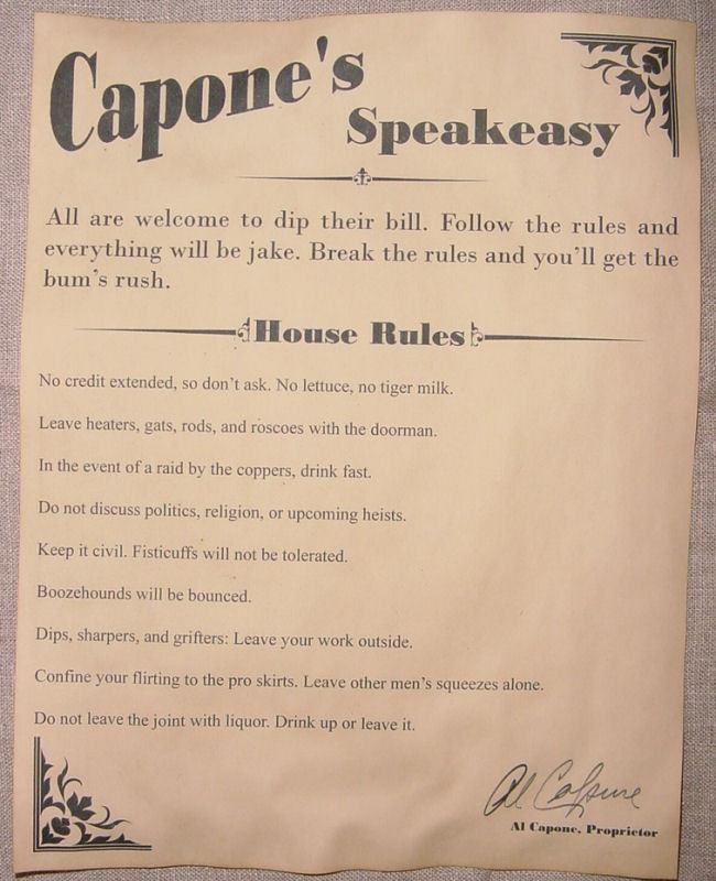 Al Capone\'s Speakeasy House Rules Poster Bar Gin Joint Speak Easy ...
