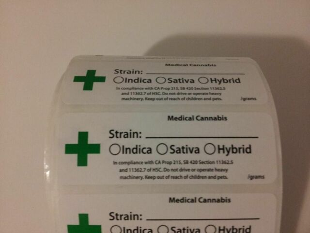 1000 PC Roll Green Cross Calif Labels Medijuana Strain Indicator Sticker  420 USA