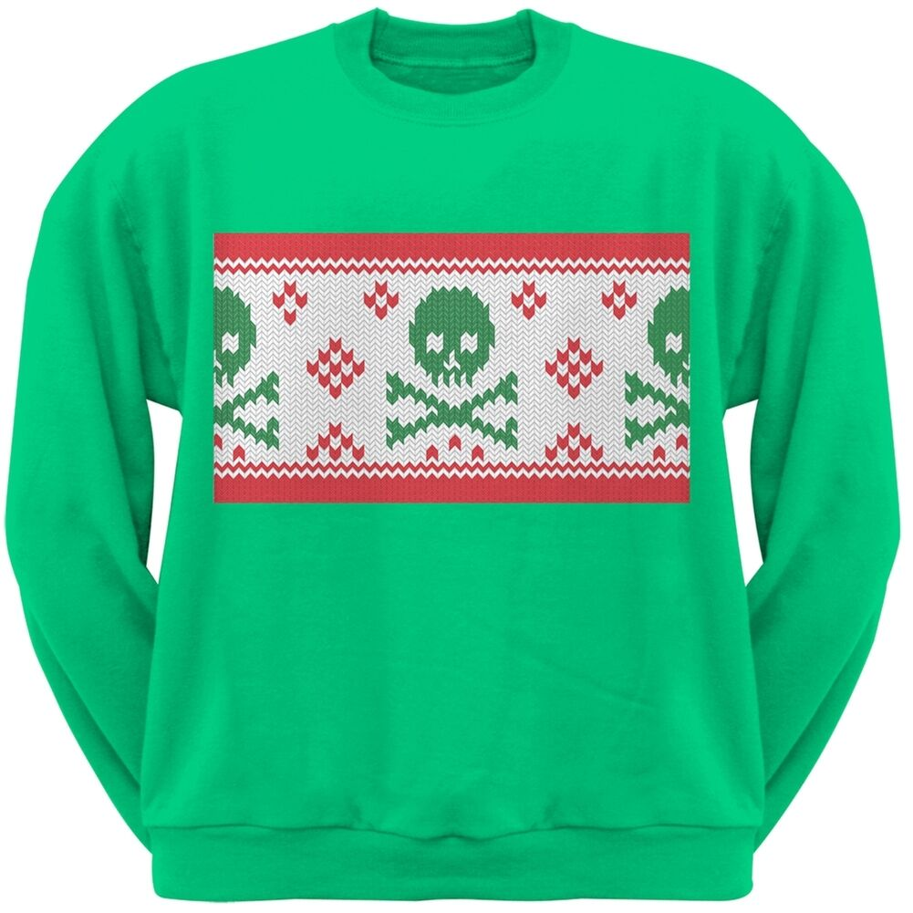 Knit Skull and Crossbones Ugly Christmas Sweater Green Adult ...