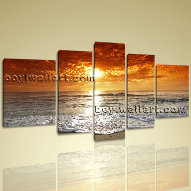Large HD Canvas Print 5 Pieces Framed Beach Wall Art Sunset Seascape ...