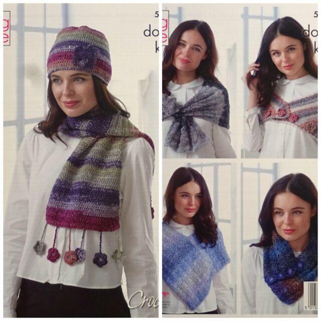 Poncho Shawl Hat Wraps & Neck Warmer DK Yarn Crochet Pattern King ...