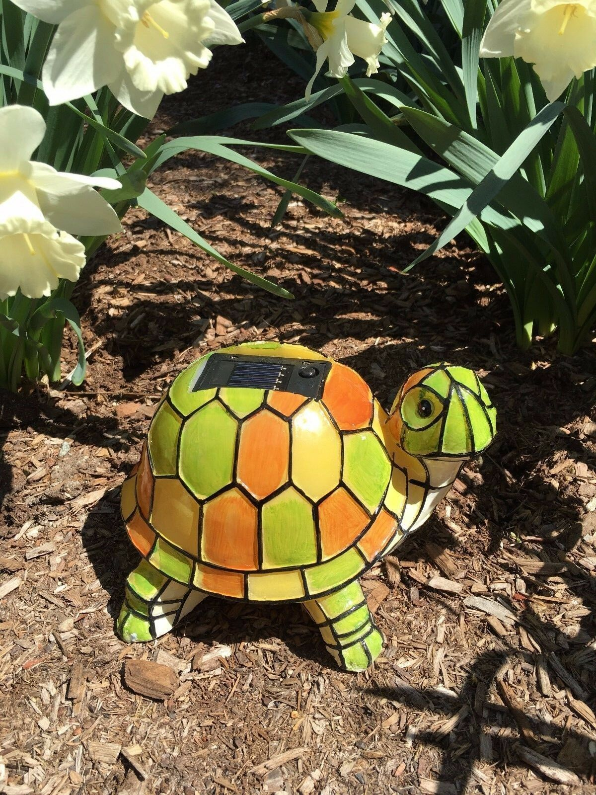 Marvelous Solar Powered Garden Decor Art Turtle Statue Outdoor Patio Yard ...