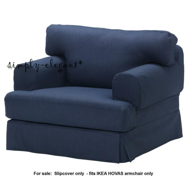 IKEA COVER For Hovas Chair HOVÅS Replacement ArmChair SlipCover Kalvik Dark  Blue