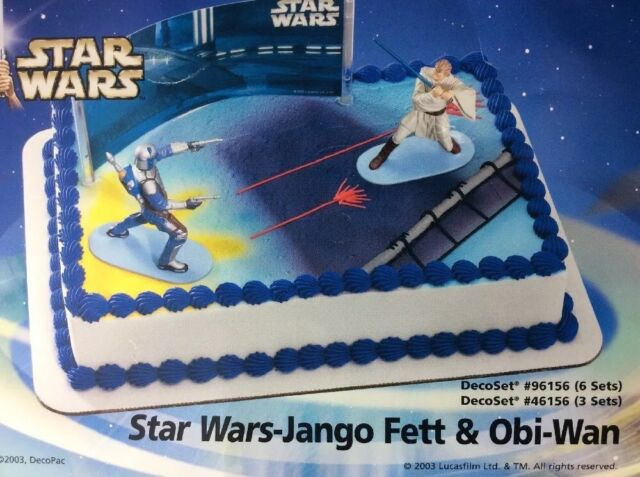 Star Wars Cake Topper Set Obiwan Kenobi Jango Fett Attack of The