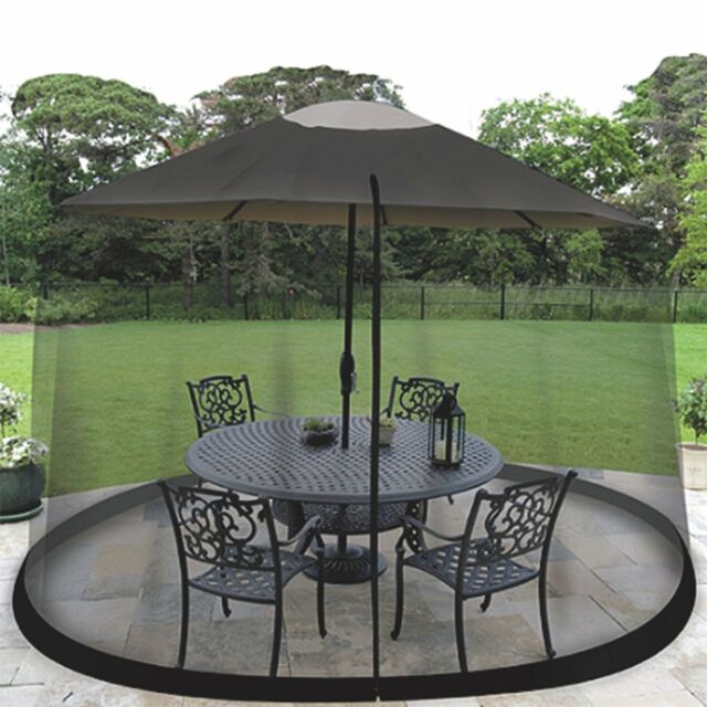 9 FT Outdoor Patio Table Umbrella Bug Screen Mosquito Net Zippered ...