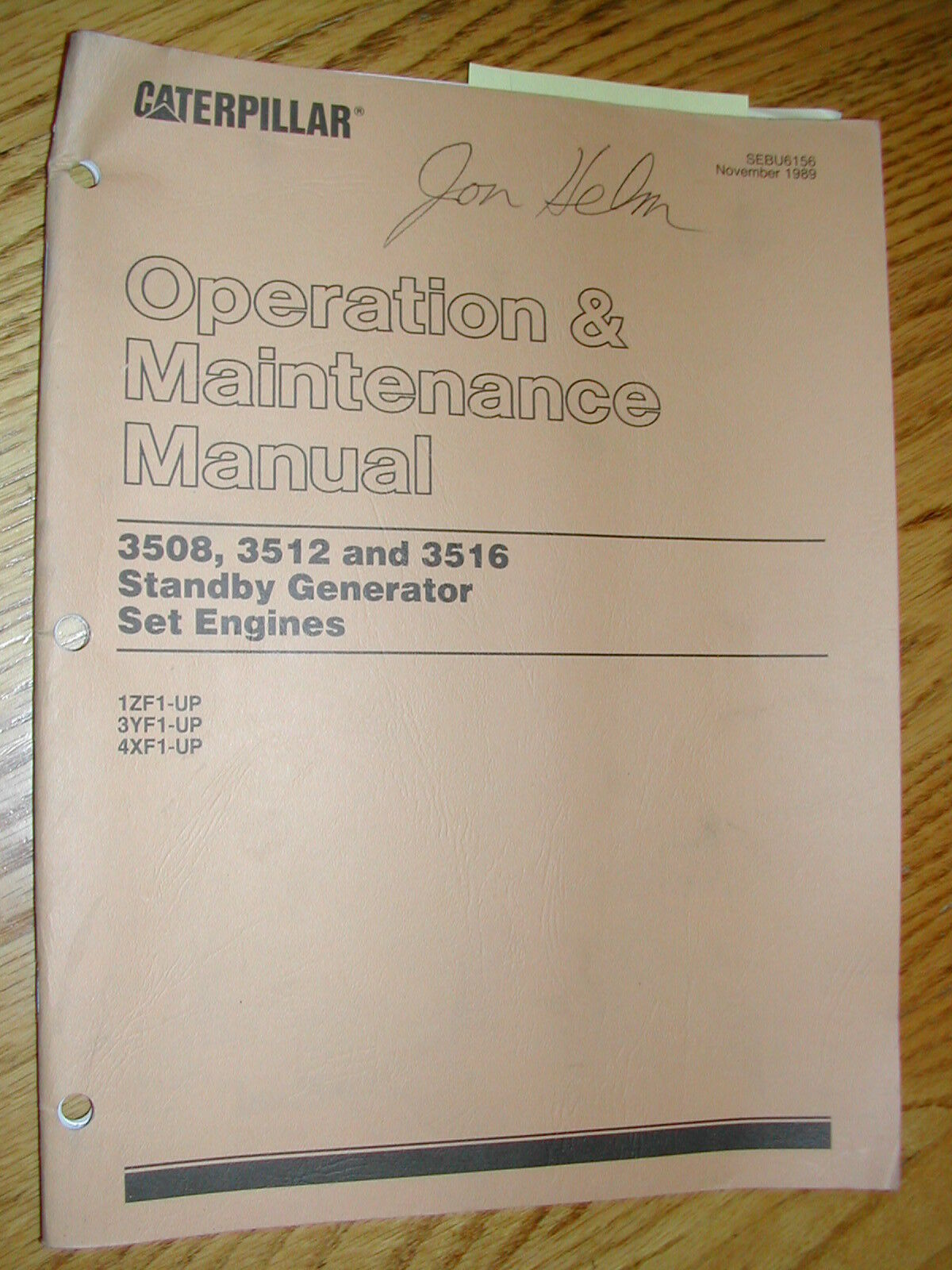 CAT Caterpillar 3508 3512 3516 Operation Maintenance Manual Genset