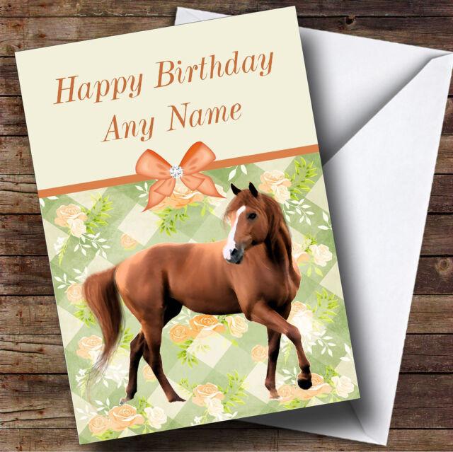 Peach Roses Horse Personalised Birthday Card Ebay