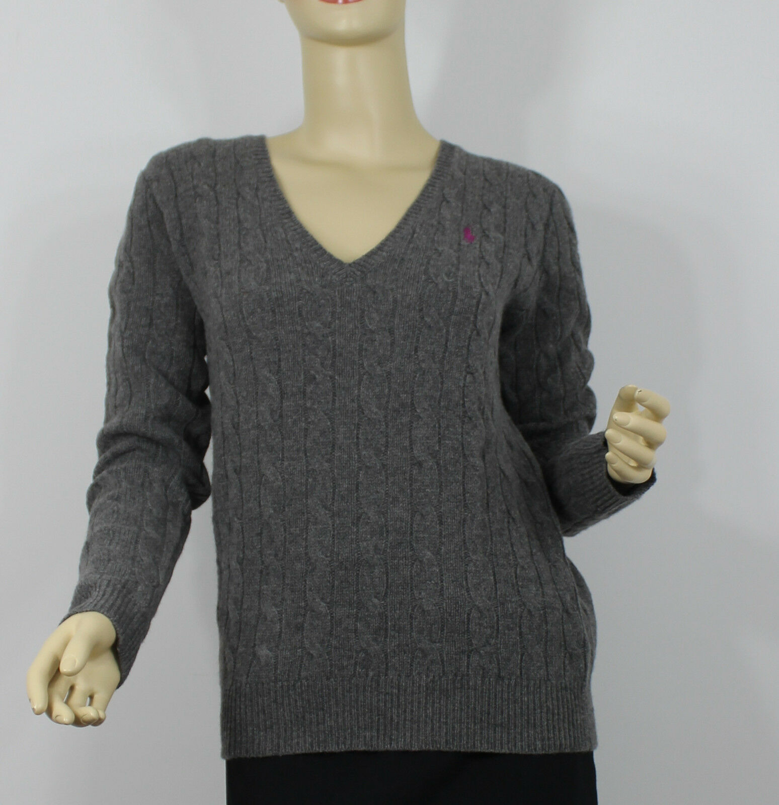 Ralph Lauren Cashmere Wool Cable Knit Sweater Womens Large Gray Pink