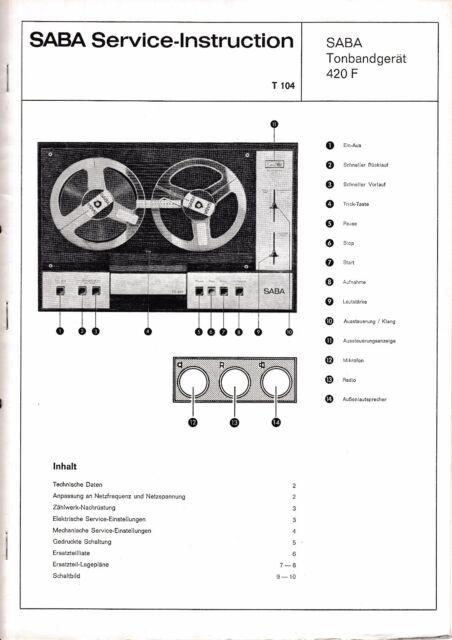 Service manual instructions saba tg 420 f ebay service manual instructions saba tg 420 f sciox Images
