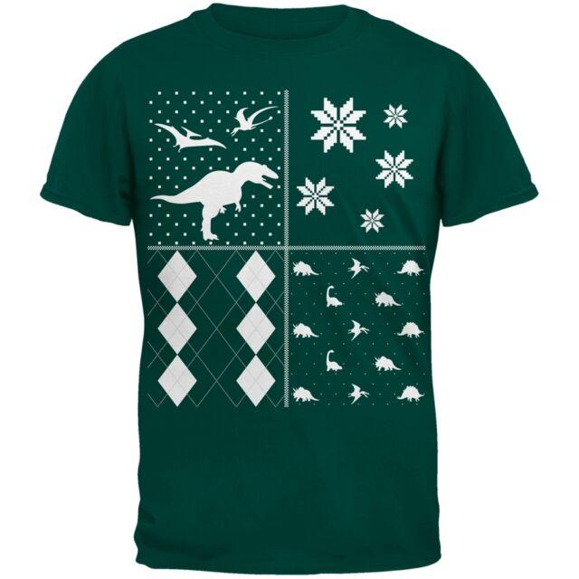 dinosaurs festive blocks ugly christmas sweater dark green youth t shirt - Ugly Christmas Sweater Dinosaur