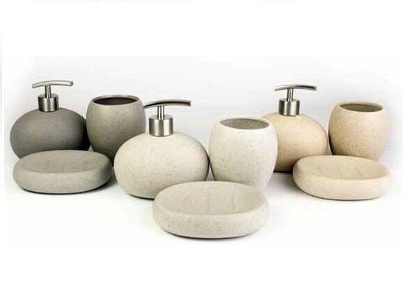 stone coloured bathroom accessories. Set Of 3 Ceramic Stone Effect Soap Dish Dispenser Tumbler Bathroom  Accessory 3pc Colours Toothbrush Holder