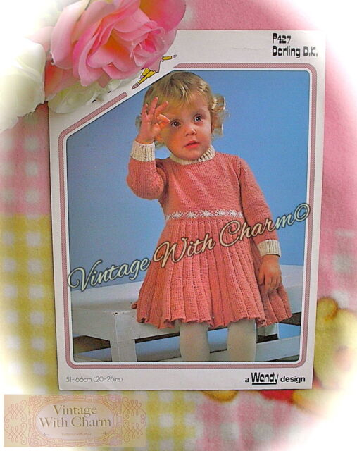 Vintage Knitting Pattern Instructions For Girls Pleated Dress 4
