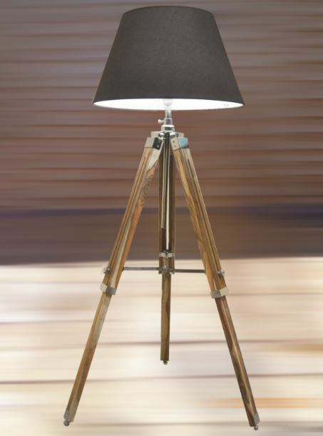 Nautical Tripod Retro Stylish Teak Wooden Floor Lamp Vintage Home ...