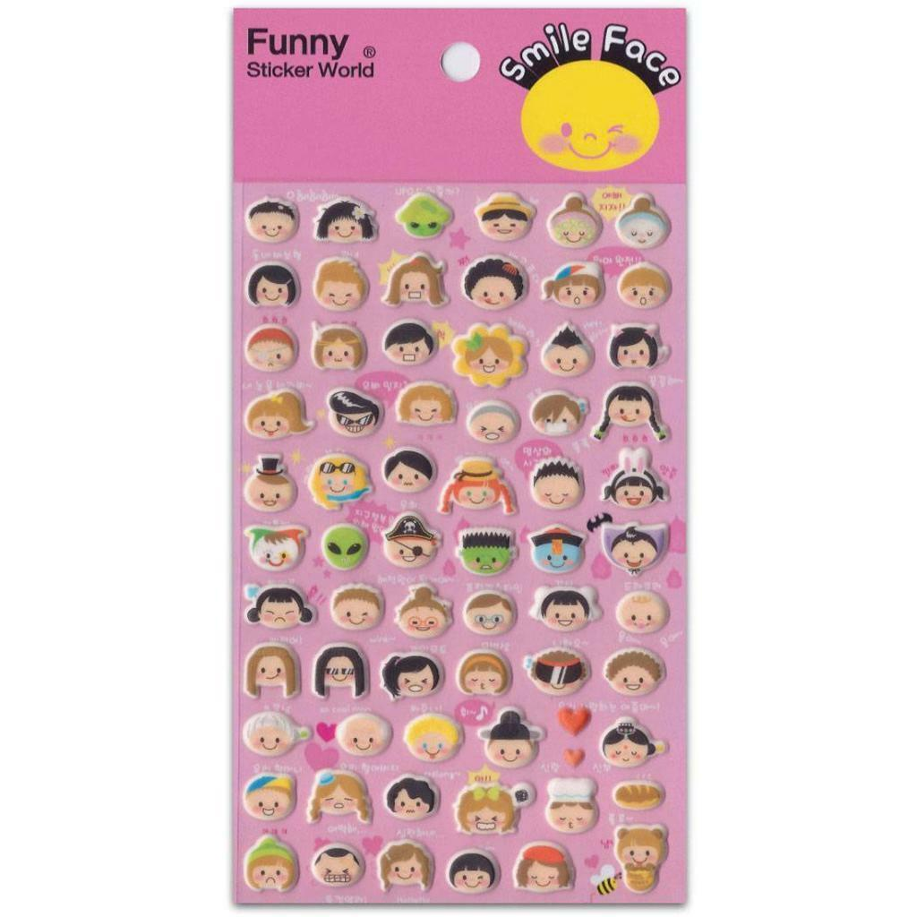 Cute Kids Face Stickers Children Puffy Vinyl Sticker Sheet