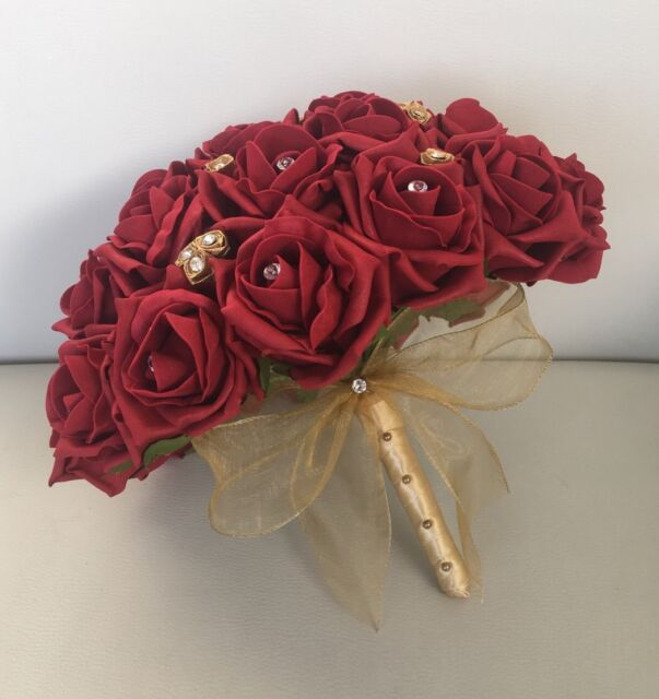 Merveilleux BRIDE ARTIFICIAL WEDDING FLOWERS RUBY RED GOLD FOAM ROSE BOUQUET POSIE ASIAN