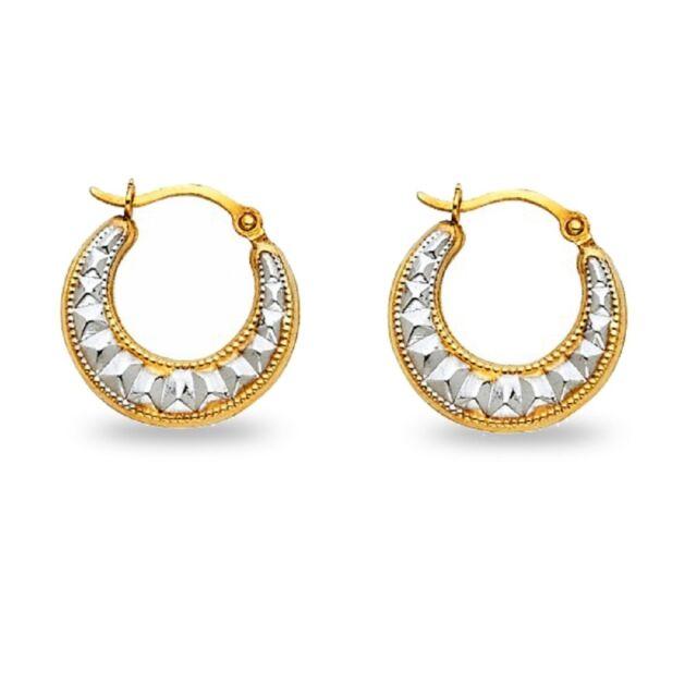 Huggie Hoop Earrings 14k Yellow White Gold Hollow Diamond Cut Style Two Tone