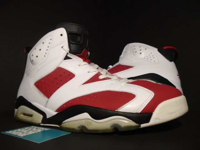 Nike Air Jordan Retro 6 VI Carmine 2014 Size 13 White/Black/Red 384664-160