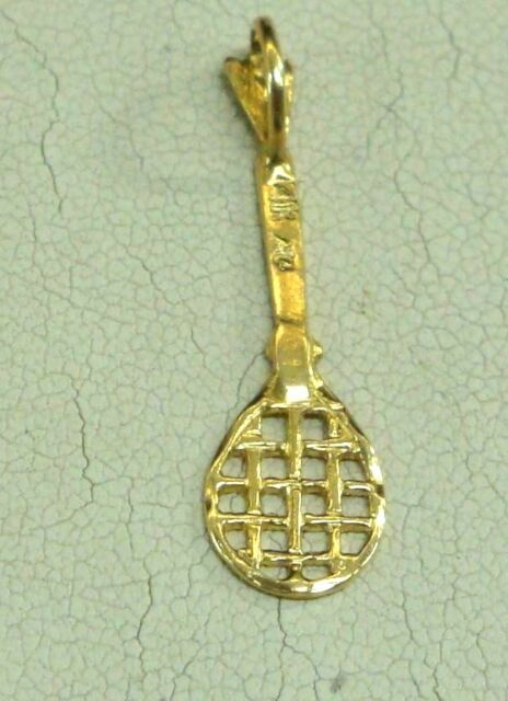 14k solid yellow gold tennis racket charm pendant ebay brand new 14k solid yellow tennis racket gold pendant charm mozeypictures Image collections