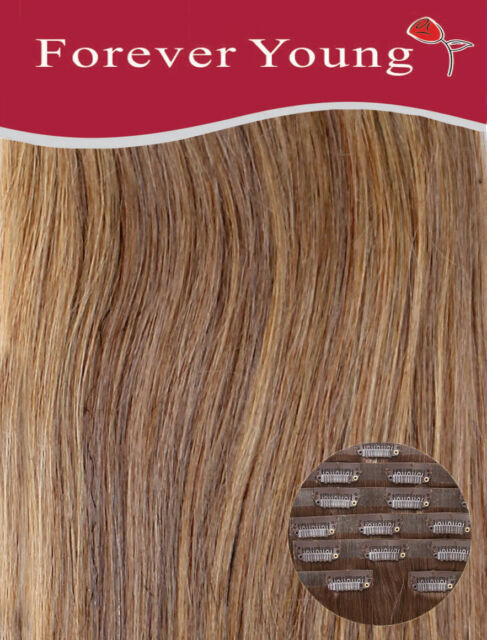 Invisible Seamless Blonde Mix Clip In Remy Human Hair Extensions