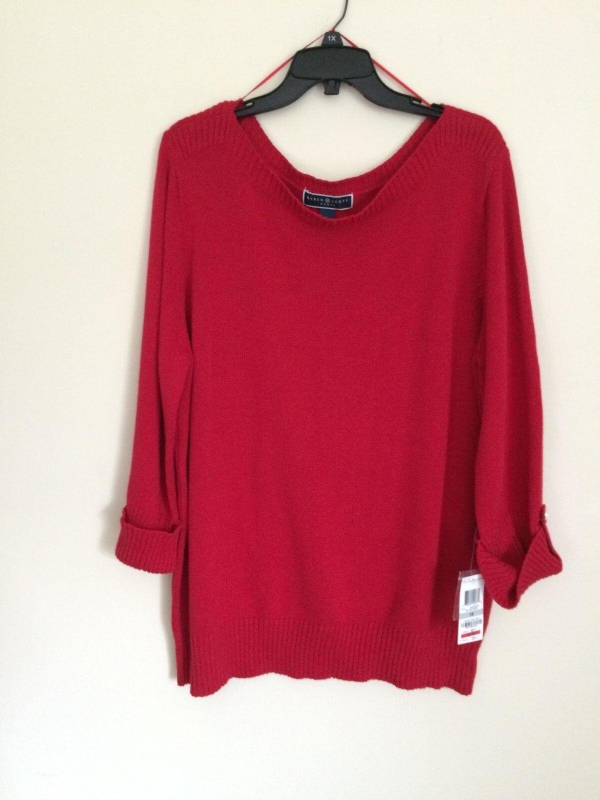 Karen Scott 6850 Womens Red Cotton Pullover Sweater Top Plus 1x ...