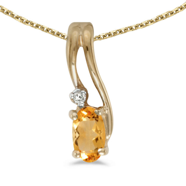 10k yellow gold oval citrine and diamond pendant with 18 chain ebay 10k yellow gold oval citrine and diamond wave pendant with 18 chain aloadofball Images