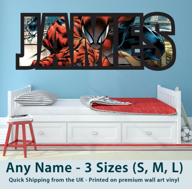 Childrens Name Wall Stickers Art Personalised Decal Spiderman for Boys Bedroom  sc 1 st  eBay & Childrens Name Wall Stickers Art Personalised Decal Spiderman for ...