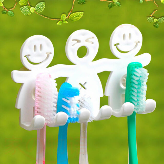 Toothpaste Toothbrush Holder Wall Mount Hanger Bathroom Suction ...