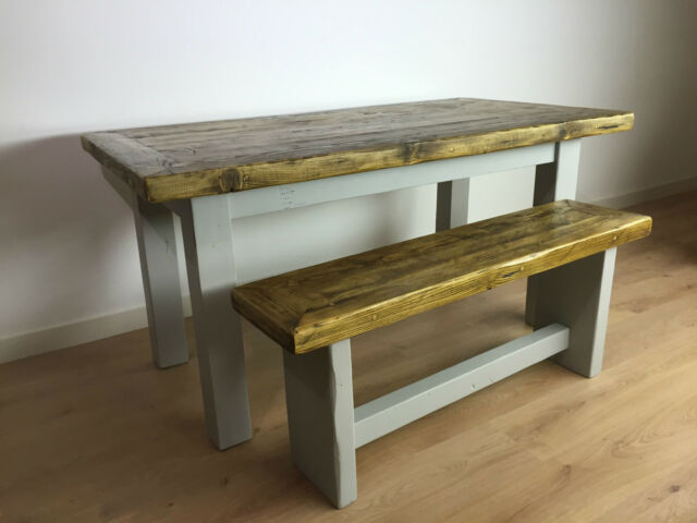Rustic Solid Wood Dining Table Farmhouse Bench Reclaimed Pine Plank Set