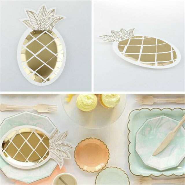 8x Golden Foil Disposable Pineapple Paper Plates Wedding Birthday Party Decor WB & 8x Golden Foil Disposable Pineapple Paper Plates Wedding Birthday ...