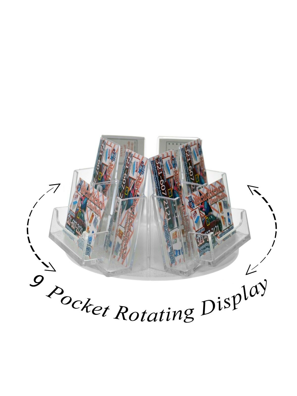 Clear acrylic 9 pocket rotating business card holder countertop picture 1 of 2 reheart Choice Image