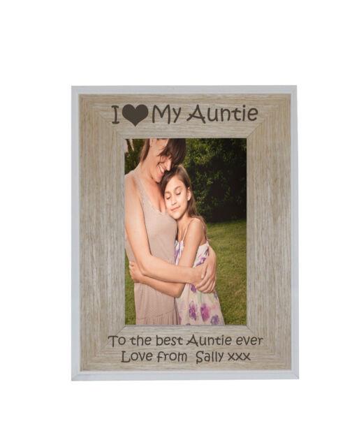 I Heart Love My Auntie 4 X 6 Photo Frame White Edge Wood Frame