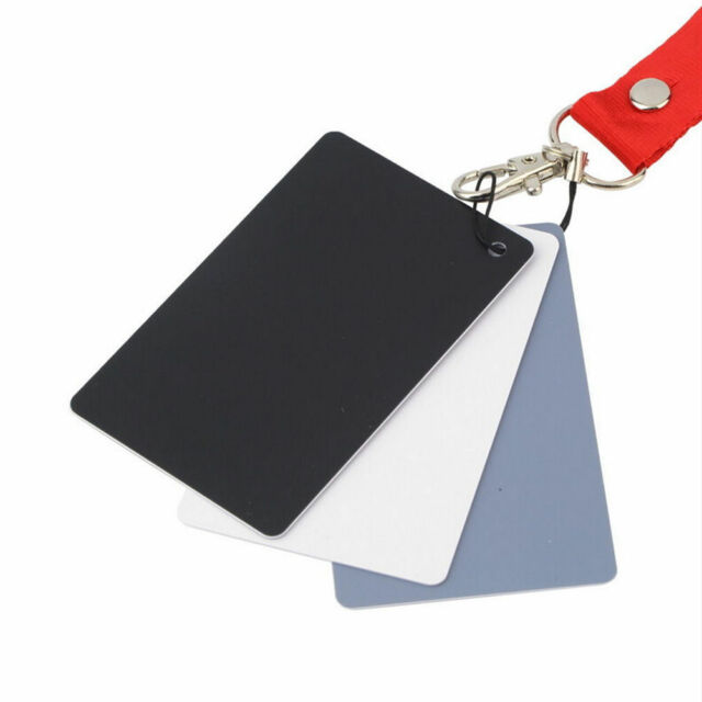 3 in 1 Pocket-Size Digital White Black Grey Balance Cards 18% Gray Card E1