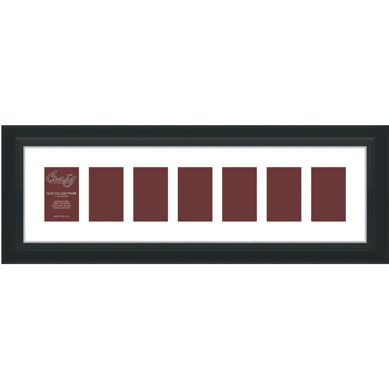 Craig Frames 10x35-inch Black Picture Frame Single White Collage Mat ...