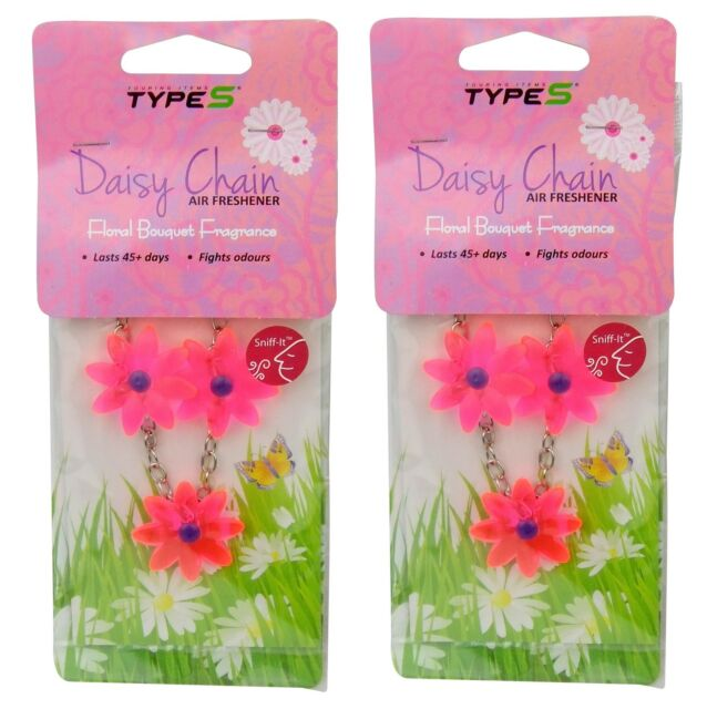 2 X Hanging Car Air Freshener Daisy Chain Floral Flower Bouquet ...