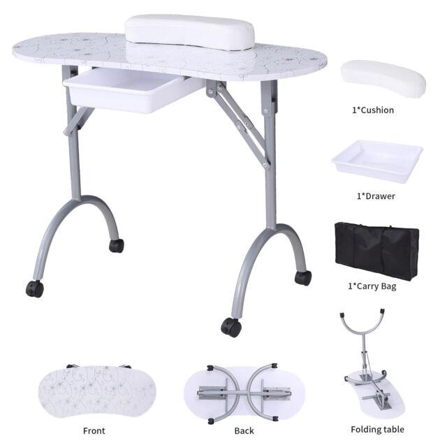 Foldable White Manicure Nail Table Portable Station Desk Beauty ...