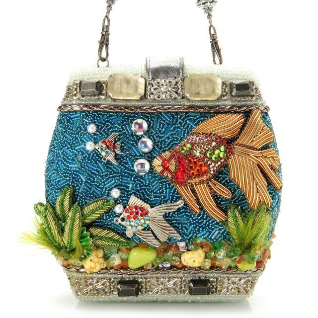 Mary Frances Handbag Fish Bowl Hand Beaded Jeweled Goldfish Purse Shoulder Bag